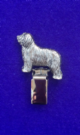 Dog Show Breed Ring Number Clip - Bearded Collie - FULL BODY Silver or Gold Style
